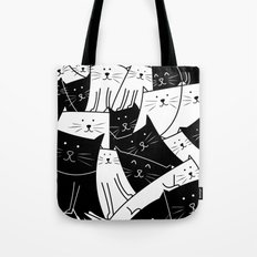 The Cats are Watching - B/W Tote Bag