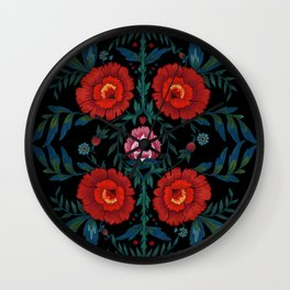 Flowers in Red and Blue Wall Clock