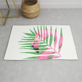 Pink Flamingo Palm Leaf Rug