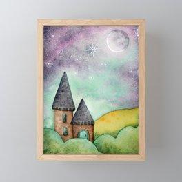 Little Castle In The Rolling Hills - Watercolor Illustration Framed Mini Art Print
