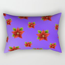 Red Flowers Pattern 3 Rectangular Pillow