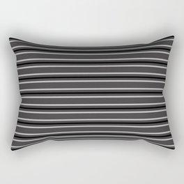 Silver and Black on Dark Grey Three Stripes Pattern | Horizontal Stripes | Rectangular Pillow