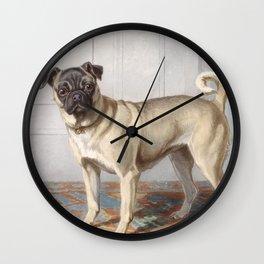 Vintage Pug Painting Wall Clock
