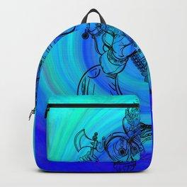 Lord Ganesha on Blue Spiral Backpack