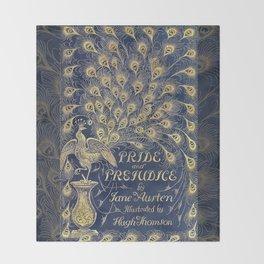 Pride and Prejudice by Jane Austen Vintage Peacock Book Cover Throw Blanket
