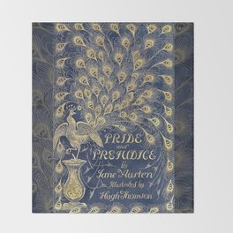 Pride and Prejudice by Jane Austen Vintage Peacock Book Cover Throw Blanket