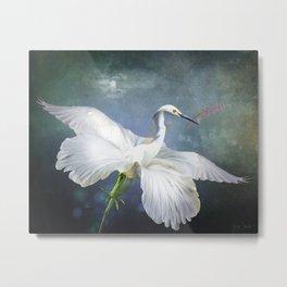If a Heron Became a Hibiscus Metal Print
