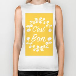 Inspirational Quote French Typography Print in Yellow Biker Tank