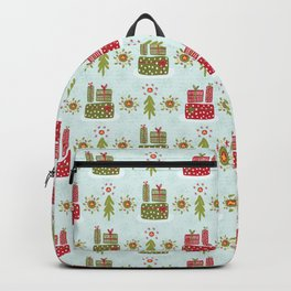 Wrapped Presents Under the Tree Green and Red Backpack