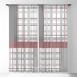 Grey Red Burgundy Checkered Gingham Patchwork Color Canvas Sheer Curtain
