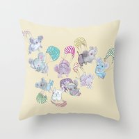 elephants Throw Pillows featuring Elephants by Maureen Poignonec