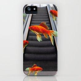 futuristic escalator with goldfishes iPhone Case