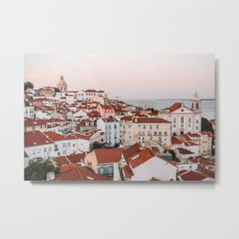 Sunset in Alfama, the Old Town of Lisbon, Portugal | Travel Photography | Metal Print