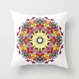 Abundantly colorful orchid mandala 1 Throw Pillow