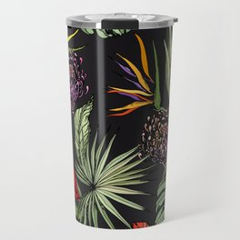 Tropical pattern on black Travel Mug