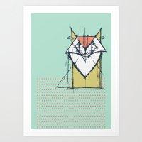 Cubist Cat Study #9 by Friztin Art Print