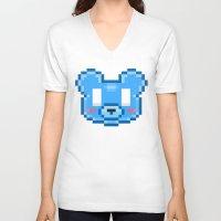 8bit V-neck T-shirts featuring 8Bit Kawaiikuma by Bear Picnic