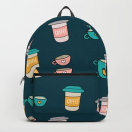 Happy coffee cups and mugs in dark-blue background Backpack