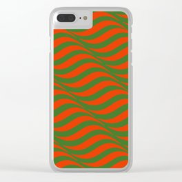 Red and Green Waves Clear iPhone Case