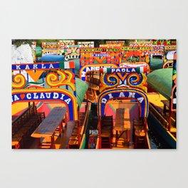 Mexico - Xochimilco Bright Boats Canvas Print