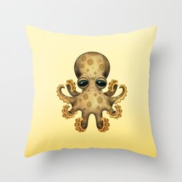 Cute Brown and Yellow Baby Octopus Throw Pillow
