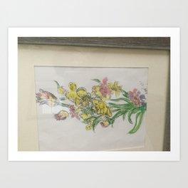 Calming table flowers Art Print