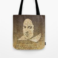 shakespeare Tote Bags featuring William Shakespeare by Vi Sion