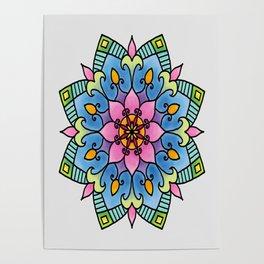 Colourful Botanical Mandala Poster