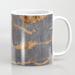 Scratched Suede and Gold Cracks Abstract Coffee Mug