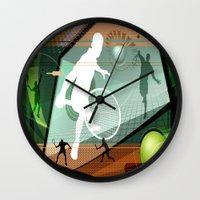 tennis Wall Clocks featuring Tennis by Robin Curtiss