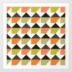 Orange & lime geometric pattern Art Print