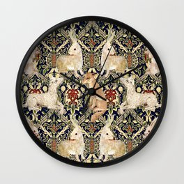 Medieval Rabbits, Dogs, and Fox Wall Clock