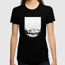 Black And White Mountain Scence T-shirt