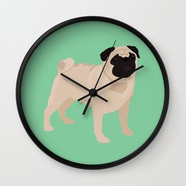 PUG - Green Wall Clock