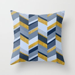 Chevron with Textures / Gold Effect and Denim Blue Throw Pillow
