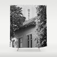 window Shower Curtains featuring Window by Margheritta