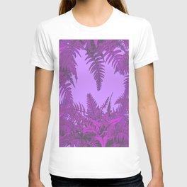 DECORATIVE PURPLE-LILAC GREY ORIENTAL FERNS GARDEN ART T-shirt