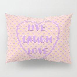 Lavender LIVE LAUGH LOVE Polka Dots Peach Pillow Sham