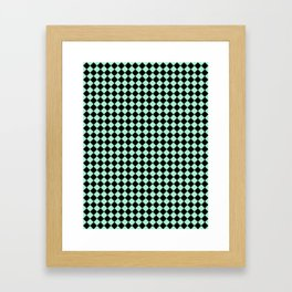 Black and Magic Mint Green Diamonds Framed Art Print