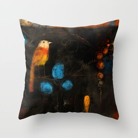 LONE BIRD Throw Pillow by Terry Runyan Society6