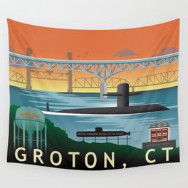 Groton, CT - Retro Submarine Travel Poster Wall Tapestry