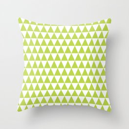 Grass Green and White Triangle Pattern Throw Pillow
