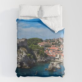 Dubrovnik Croatia Sea Rock Coast Houses Cities Crag Cliff Building Comforters