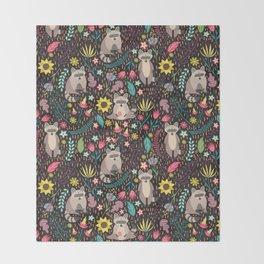 Raccoons bright pattern Throw Blanket