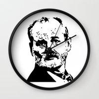 bill murray Wall Clocks featuring Bill Murray by Spyck
