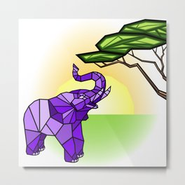 Stained Glass Elephant Metal Print