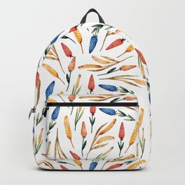 Watercolor seamless pattern with wheat sprouts and colored flowers Backpack