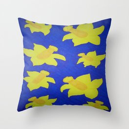 Pop Art Daffodils Blue Throw Pillow