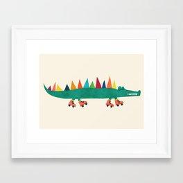 Crocodile on Roller Skates Framed Art Print