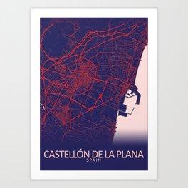Castellón de la Plana, Spain, Blue, White, City, Map Art Print